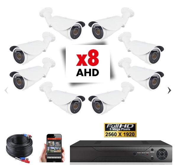 Kit Vidéosurveillance 8 Caméras Tubes Varifocales PRO FULL AHD SONY 5MP MARRAKECH